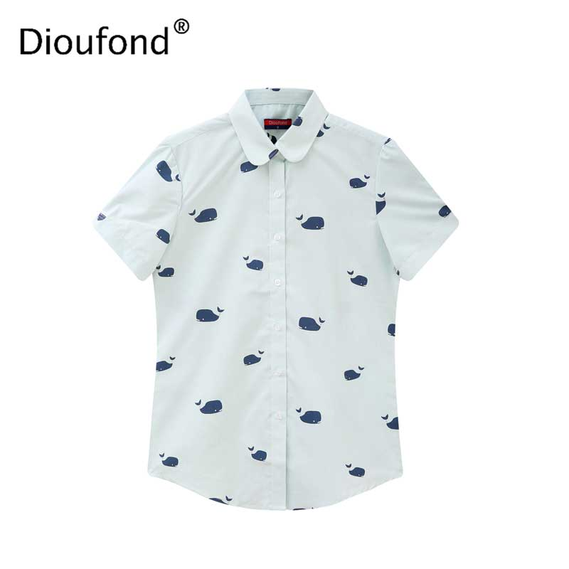 f014fdc101651b Dioufond Women Short Sleeve Shirts Whale Blusas Femininas 2018 Casual  Ladies Summer Tops Plus Size Women's