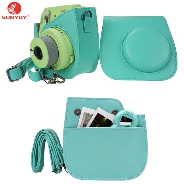 Mint Green Back pocket design PU Leather Camera Bag for Fuji Instax Mini  8/8S/Mini9 camera with Adjustable Shoulder Strap-in Camera/Video Bags from