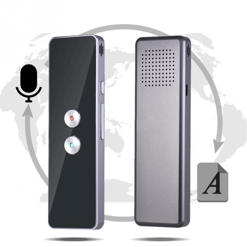 Nueva inteligente voz traductor bidireccional traducción instantánea 30 + idiomas fácil llevar incorporado Micrófono Dual