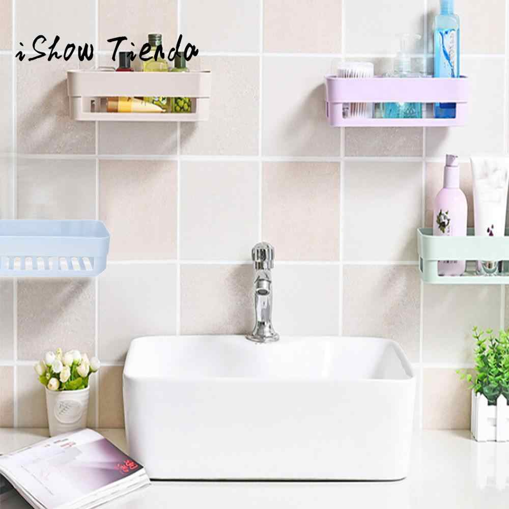 Salle De Bain Halo plastic suction cup bathroom kitchen corner storage rack organizer shower  shelf rangement salle de bain #p