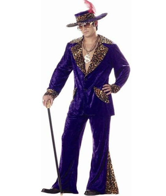 Free Shipping New Arrival Custom Made Mens Purple 70s Pimp Costume Sugar  Daddy Outfit +Hat 7e858b7a5df