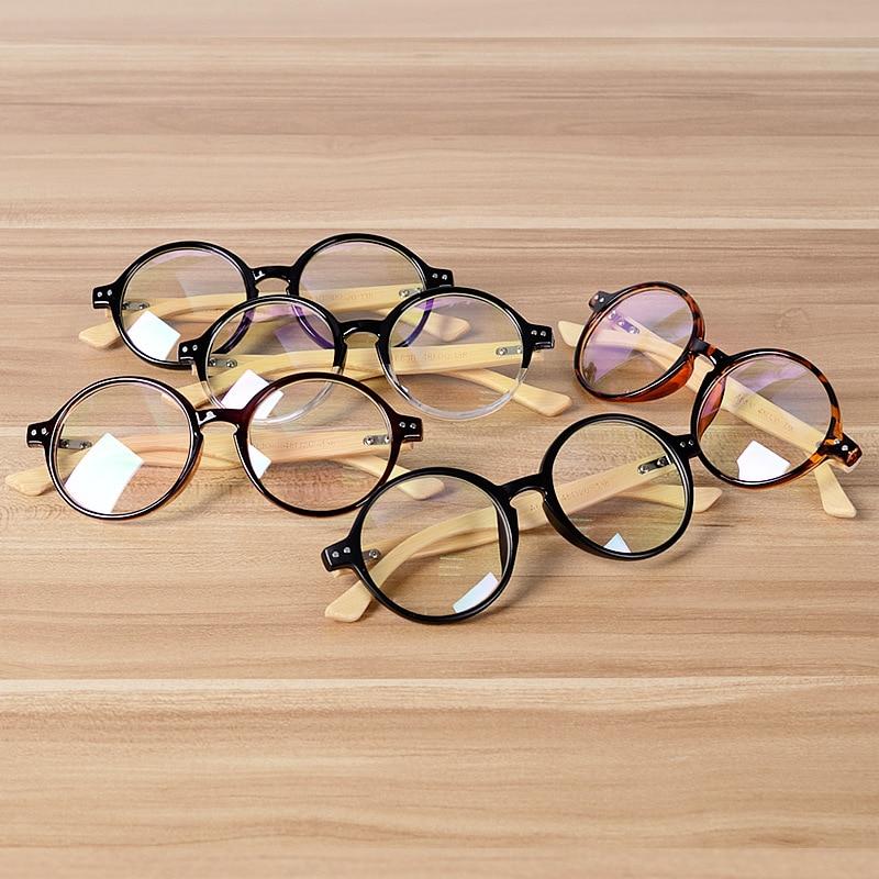 b9b6bc41540 Round Glasses Frame Clear Lens Optical Frames Vintage Eyeglasses Wooden  Bamboo Brown Leopard Eyewear Frames Spectacle Women Men-in Eyewear Frames  from ...