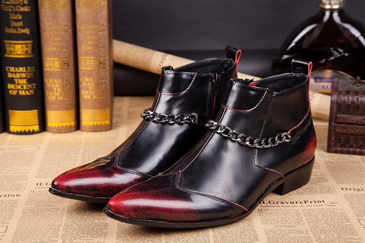 Christia Bella Fashion Designer Men Boots Genuine Leather Ankle Boots Chains Booties Pointed Toe Formal Men Dress Shoes Big Size