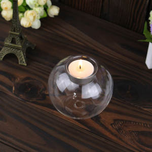 Candle-Holder Glass Dining-Room Home-Decoration Heat-Resistant Wedding-Fine Hollow Round