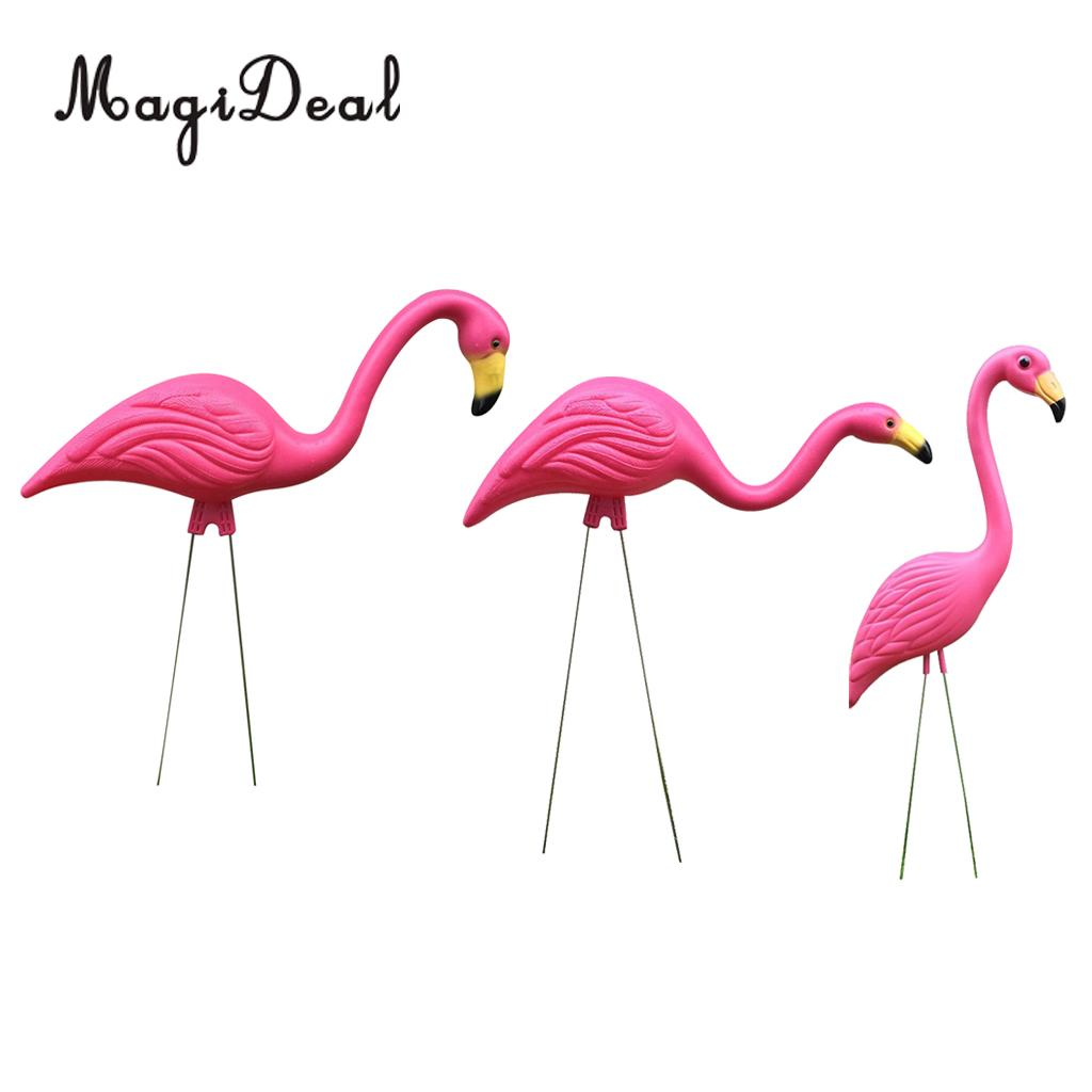Magideal Large Stand Plastic Pink Flamingo Garden Yard Lawn Decor Animal Fiigurines Ornament Statue Craft
