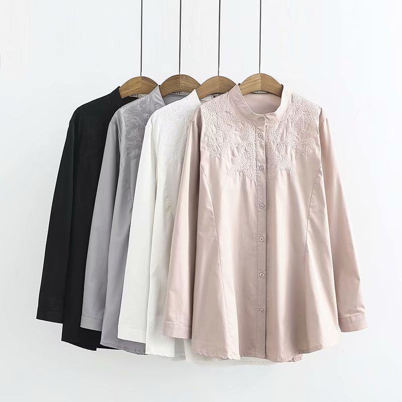 32962a35a9579 Oversize Plus Size 2018 Autumn Big Size Women Cotton Style Ladies Shirts  Chiffon solid Embroidery Shirt