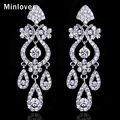 Minlover Crystal Chandelier Long Drop Earrings Silver Color Rhinestone Bridal Accessories Wedding Jewelry EH001