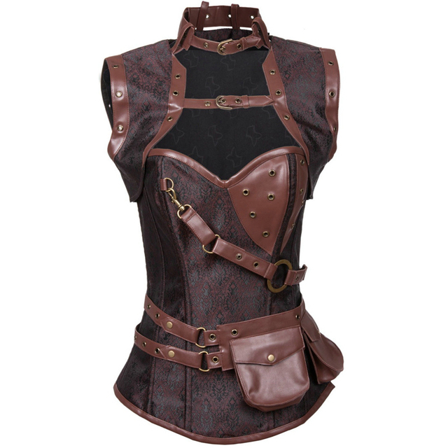 Women Plus Size Body Shaper Slimming Lace Up Corsets And Bustiers Black Jacquard Steel Boned Waist Trainer Vest