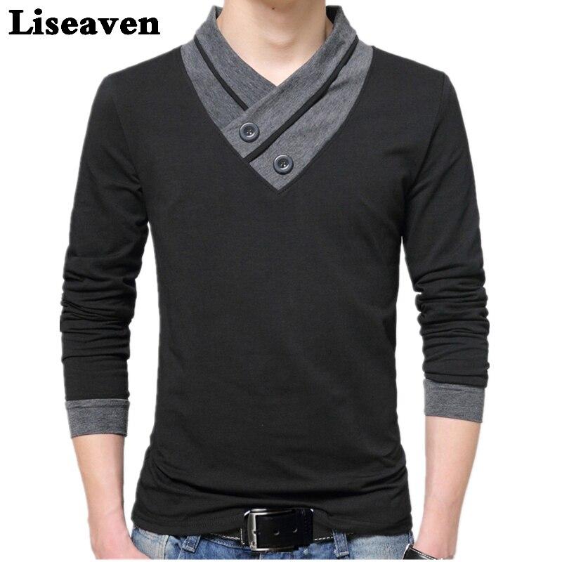 85cd1fe7bdb Liseaven hombres Tops y camisetas de manga larga Camiseta de marca camisetas  para hombres Camiseta de algodón talla grande Otoño Invierno ropa