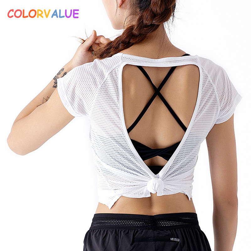 Colorvalue Back Hollow Out Fitness Top Women Loose Ultra-light Running Jogger T-shirt Breathable Mesh Sport Short Sleeve Shirts