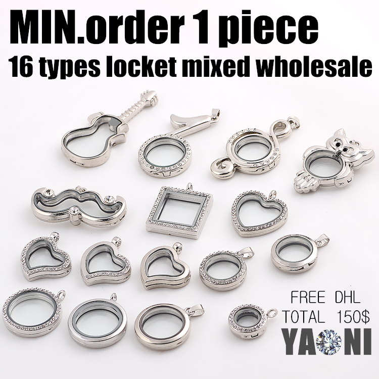 Shuyani Min.order 1pcs! 16 designs Flydende Locket Magnet Glas Flydende Charms Locket Living Memory Locket Vedhæng