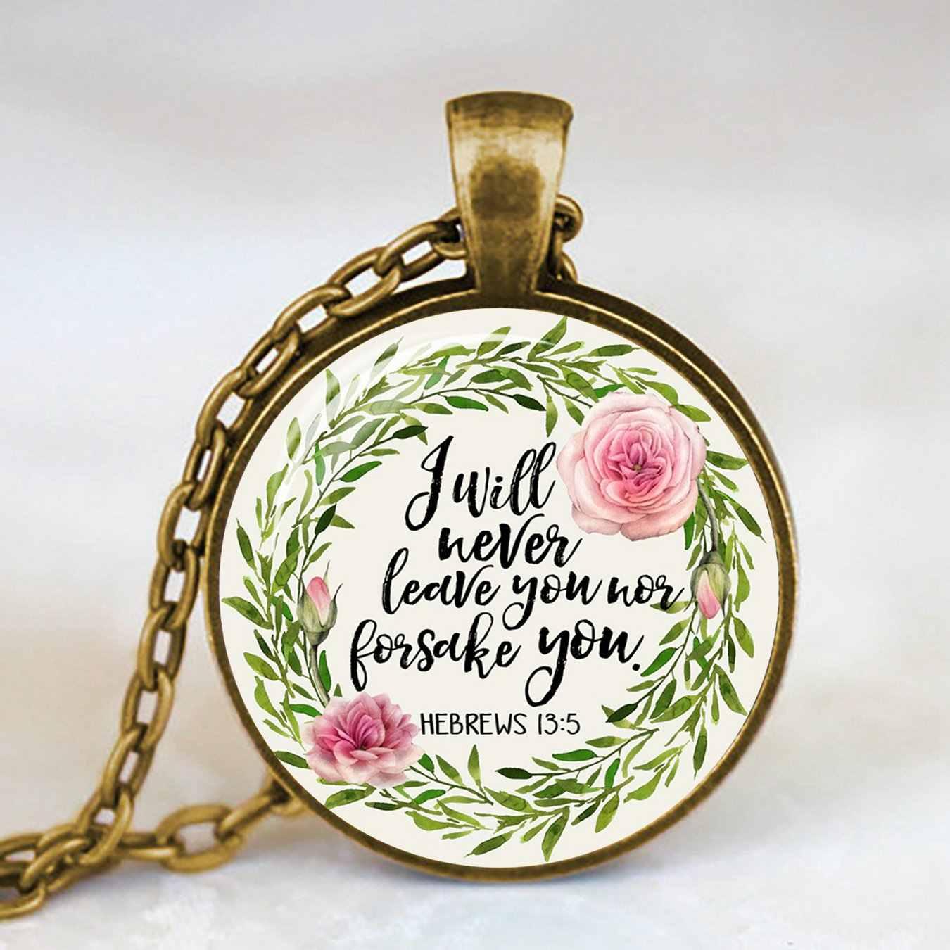 Antiguo bronce hecho a mano Biblia verso collar cúpula de cristal collar escritura cita joyería fiesta cristiana madre hermana regalos
