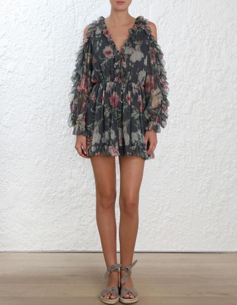 100% Seide Frauen Langarm Holzkohle Floral Print Cut Out Schulter Iris Krawatte Hülse Overall Ein GefüHl Der Leichtigkeit Und Energie Erzeugen