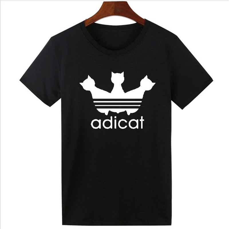 Vsenfo Fashion Cat T Shirt Women Funny Adicat Letter Printed Summer Casual Short Sleeve T-Shirt Oneck Tumblr Top Tees Black