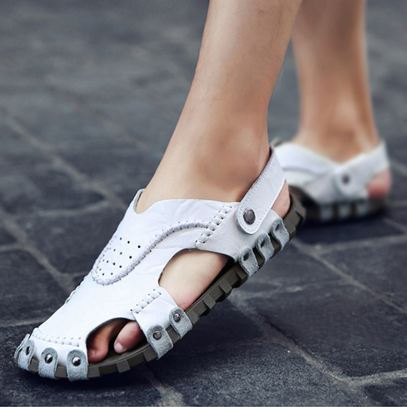 8b10d5d9d23 2018 Summer Fashion Men Genuine Leather Sandal M anxiu Ankle Strap Slip on  Plastic Sole Rivet Flat Beach Sandal-in Men s Sandals from Shoes on ...