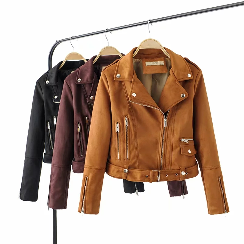 Klacwaya fashion women   suede     leather   jackets spring-autumn ladies moto-biker short bomb jacket cool girls zipper slim coats chic