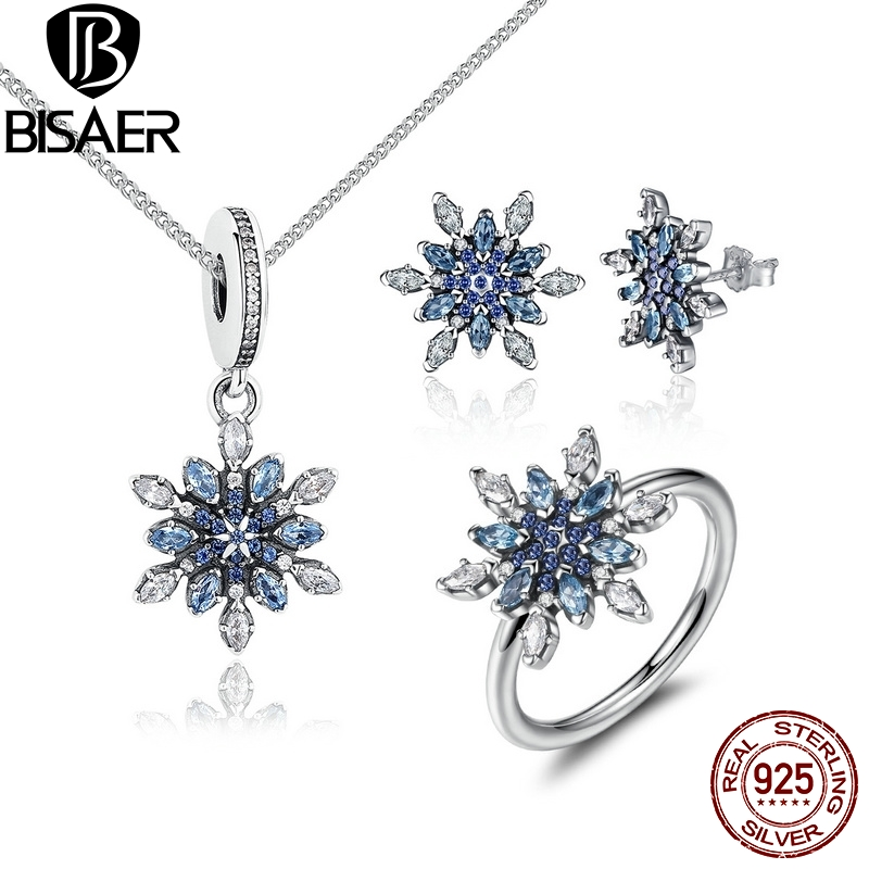 925 Sterling Silver Crystalized Snowflake Blue Crystals Clear CZ Jewelry Sets Wedding Brand Engagement Jewelry WES006 браслет с брелоками seendom jewelry 925 pulseiras cz xoxo pbs105