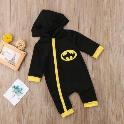 9fa4e9c562dd 0 24M Newborn Baby Boys Winter Batman Hooded Romper Jumpsuit Warm ...
