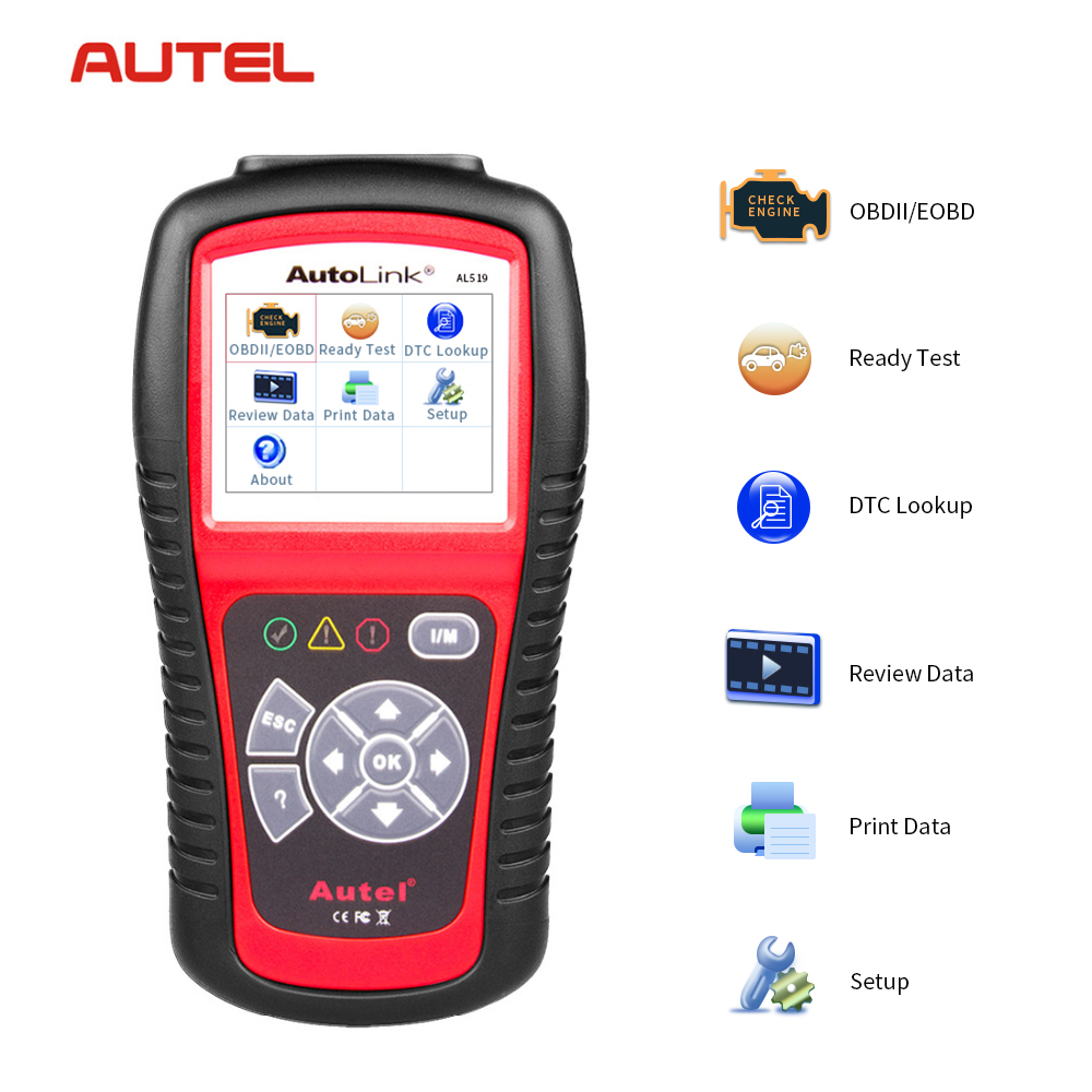 Autel AutoLink AL519 OBD2 Scanner Car DTC Reader Scan AL-519 OBDII Auto Diagnostic-Tool Code Reader OBD 2 II Scanner PK MS509 u480 1 5 lcd universal can bus obd2 car diagnostic code reader memo scanner