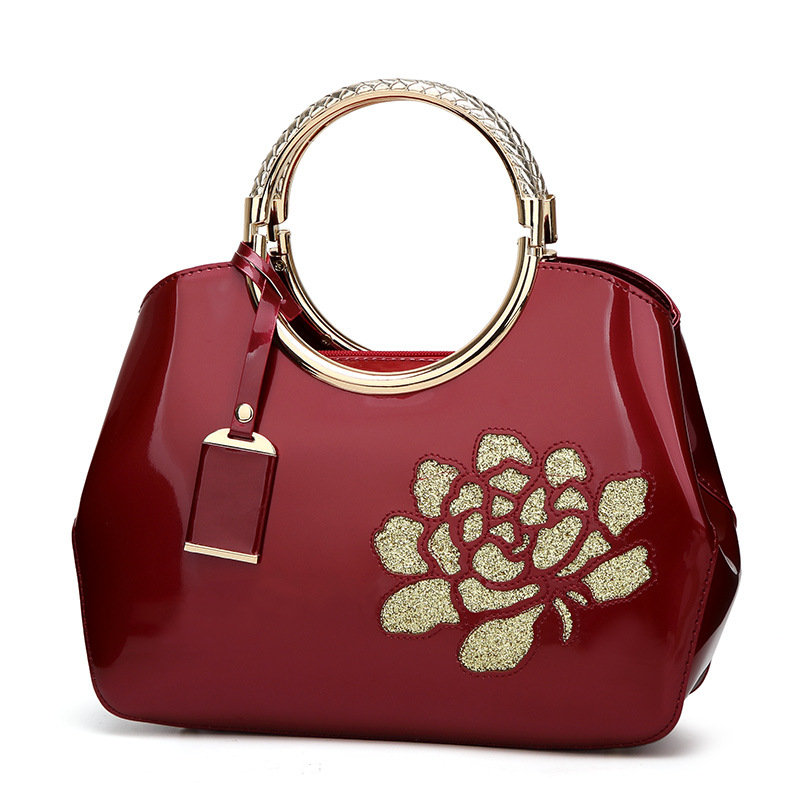 New ms 2017 European and American style handbag fashion sequins zipper inclined