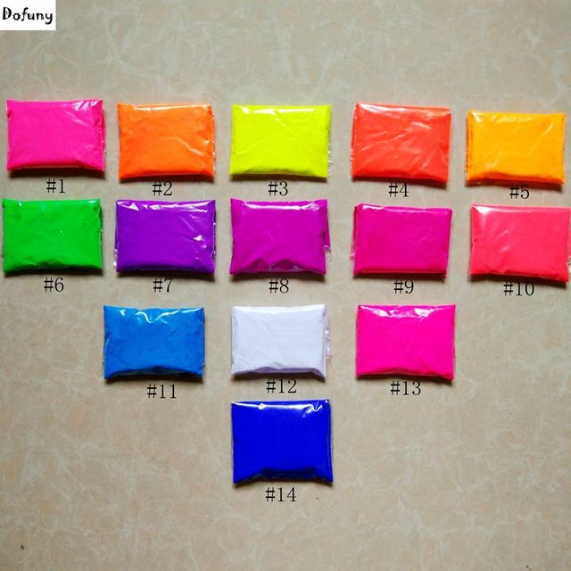 mixed 10 neon colors fluorescent phosphor pigment powder for nail
