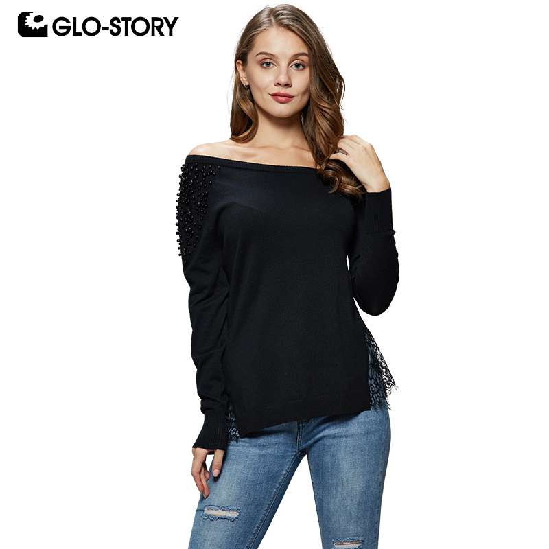 GLO-STORY 2018 Fashion Women Off-Shoulder Solid Pullover Sweater Beading Lace Open Hem Sexy Female Knitted Tops WMY-4972