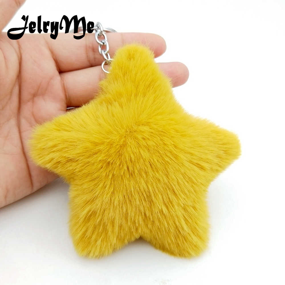 Detail Feedback Questions about New Fluffy Star Keychain For Female Faux Rabbit  Fur Pompom Keyring Women Charms Bag Car Key Chains Pendant Jewelry ... b03f08cc6909f