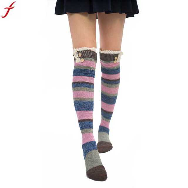 47ee076031a 018 Women Winter Warm Stripe Long Stockings Over Knee Thigh High Stockings  For Girls Ladies accessories