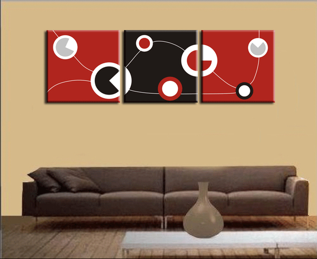 Huge Red and Black and White Abstract Art Circles Picture Spray ...