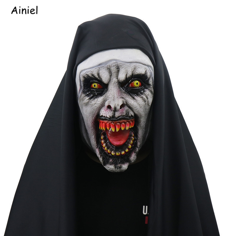 The Conjuring 2 Mask Cosplay The Nun Valak Costume Terror Terrified Scary Latex Mask Props Halloween Carnival Party Men Women