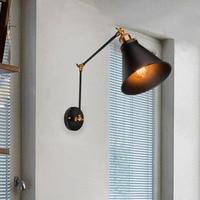 Кокимбо регулируемый длинный поворотный кронштейн настенный светильник Винтаж черный железный бра для столовой E27 AC 110-220 В ретро бра