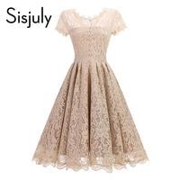 Sisjuly Vintage Women Dress Spring Lace A Line Summer Party Dress Elegant Vintage Female Black Dress