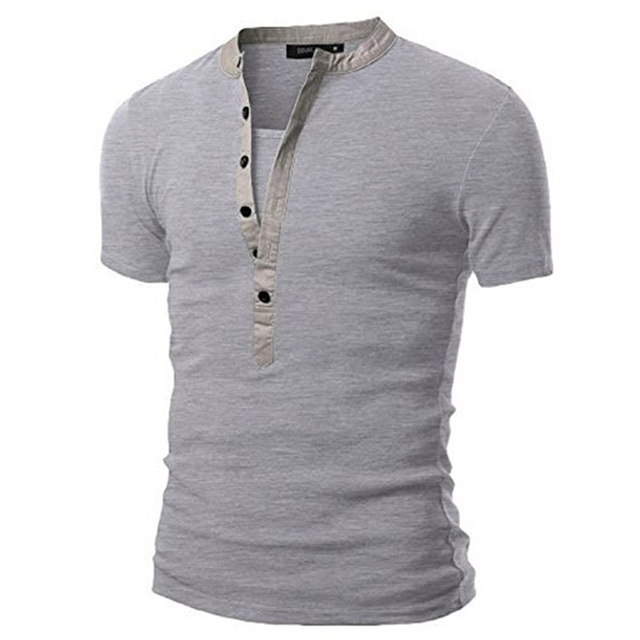Men's T Shirts Short Sleeve 2016 Summer New Fashion Button Design Casual Slim Fit V-neck Tees Men's Clothing M-XXL PSD16