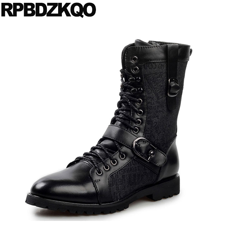 Male Punk Faux Fur Rock British Style Stud Shoes Men Runway Metalic Retro Mid Calf Black Rivet Vintage Motorcycle Boots Chunky недорго, оригинальная цена