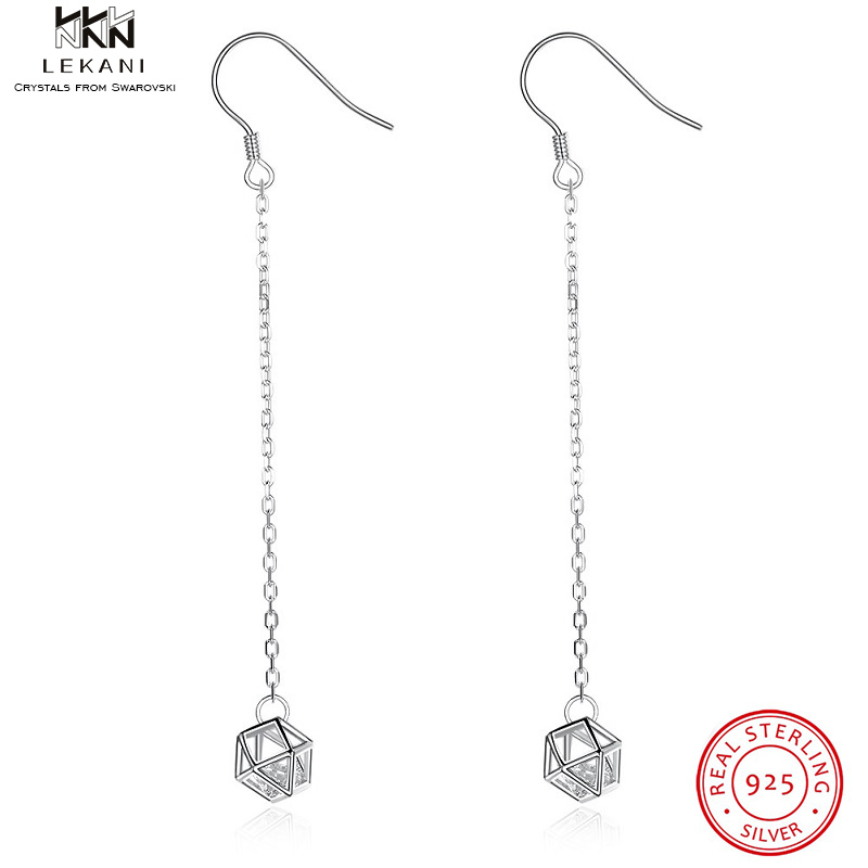 LEKANI Sterling Silver Diamond Cutout Zircon Long Earrings Womens High-End Minimalist Gifts 2019 Crystal Drop