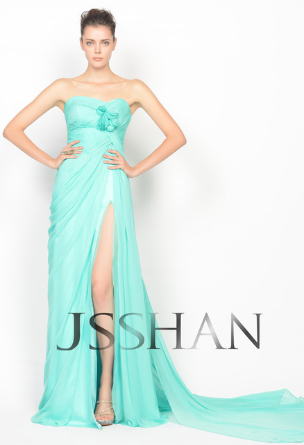 11P106 2013 Spring Celebrity Designer Strapless Ruching Chiffon Prom Elegant Gorgeous Evening Dress Long Evening Dress