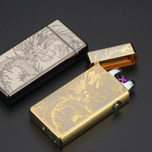 Luxury Electronic Lighter Noble Double Pulsed Arc Lighter USB Rechargeable Flameless Electric Smoking Cigar Lighters mecheros