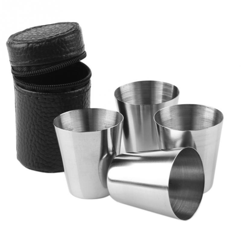 4PCS Travel Outdoor 30ml Tumblerful Shots Set Stainless Steel Mini Glasses For Whisky Wine