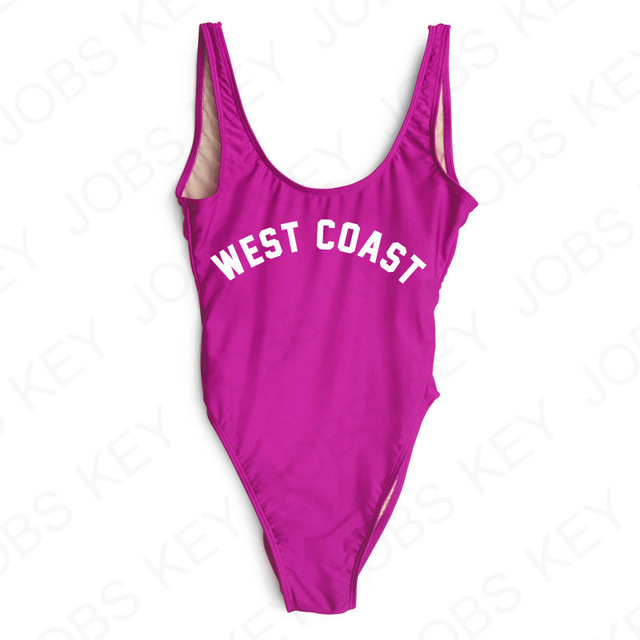 f3120231dd8 2018 Sexy East Coast West Coast One Piece Swimsuit Womens Swimwear High Cut  Letter Bodysuit Summer Bathing suits Black White-in Body Suits from Sports  ...