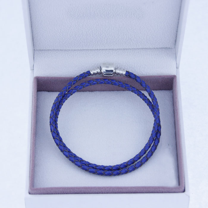Authentic 925 sterling silver chuck and braided blue leather bracelet female European - Style charm bracelet wholesale