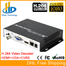 1080P 1080i H.264 HDMI VGA HDD dekoderis HD SD Video Audio IP Streaming Decoder HTTP RTSP RTMP UDP HLS į HDMI VGA CVBS imtuvą