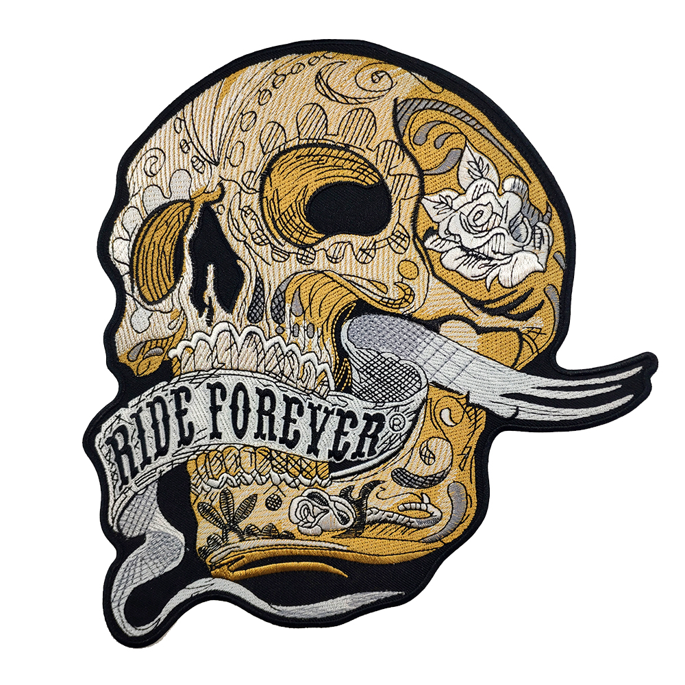 Aliexpress com buy ride forever skull motorcycle embroidery iron on patch clothes skull custom punk biker cut stickers iron patches for clothing from