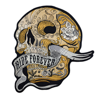 Ride Forever Skull Motorcycle Embroidery Iron On Patch Clothes Skull Custom Punk Biker Cut Stickers Iron Patches For Clothing
