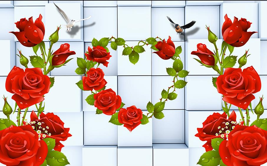 Buy wallpaper 3d flowers rose 3d murals for 3d wallpaper for home singapore