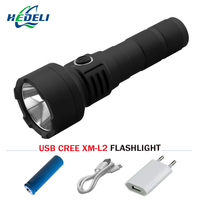 Cree Xm L2 Powerful Led Flashlight Usb Rechargeable Lanterna Torch Waterproof Light18650 Battery