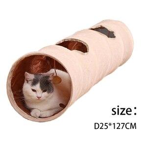 Image 5 - Lange Pet Tunnel Hohe Qualität 120 cm 2 Löcher Faltbare Katze Welpen Kaninchen Teaser Lustige Verstecken Tunnel Spielzeug Ball Faltbare katze Tunnel