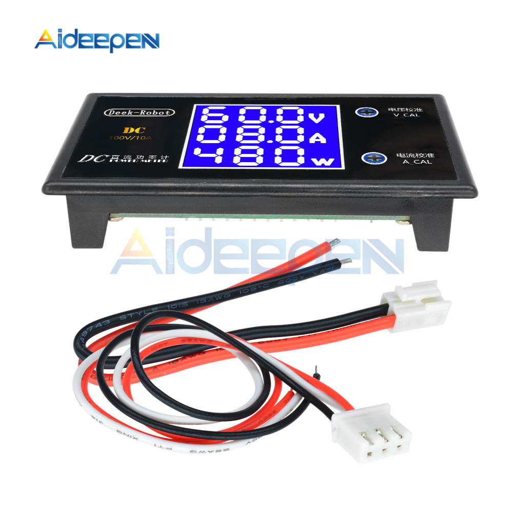 DC 0-100V 0-50V 5A 10A LCD Digital Voltmeter Ammeter Wattmeter Voltage Current Power Meter Volt Detector Tester 250W 1000W 8