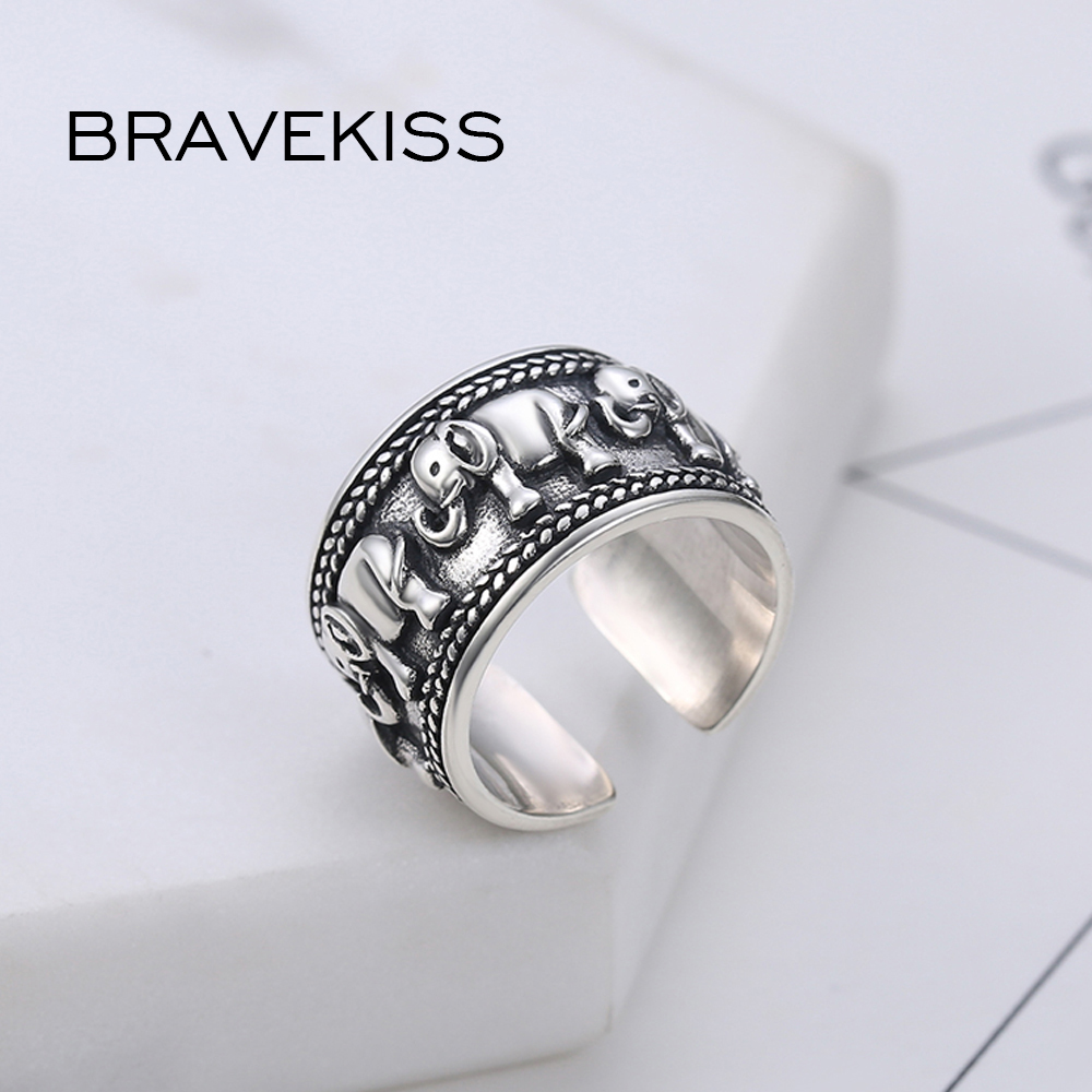 Image 5 - BRAVEKISS  925 Sterling Silver Elephant Ring Animal Antique Open Adjustable Wide Wedding Engraved Ring Jewelry for Woman BLR0309-in Wedding Bands from Jewelry & Accessories