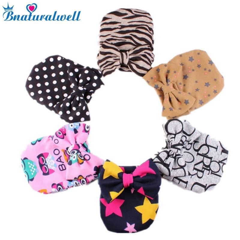 Bnaturalwell Cute Baby Cotton Hats Hot Newborn Toddler Cute Bow Girls Hospital Hat Dots Zebra Printing Bowknot Beanie Cap H535