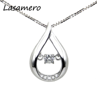 LASAMERO 0.08CT Round Cut Floral Hollow Filigree Pave Set 18k Gold Diamond Pendant Necklace